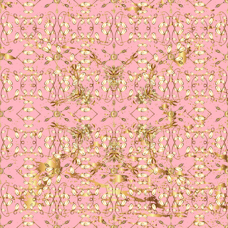 Traditional orient ornament. Classic golden pattern. Pattern on pink background with golden elements. Classic vintage background.