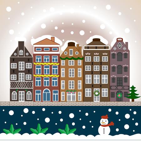 Night Winter, Christmas urban landscape.