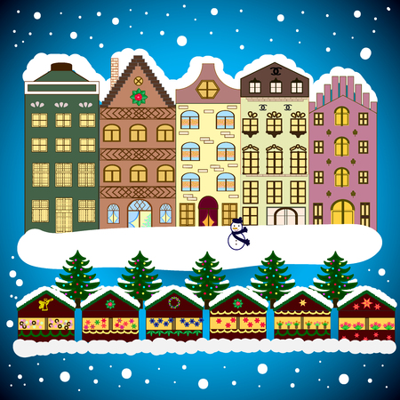snow chain: Christmas winter scene. Background. Evening village winter landscape with snow cove houses.