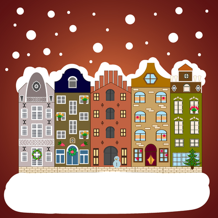 Christmas and Happy New Year greeting card. Flat. Winter house. Stock Photo