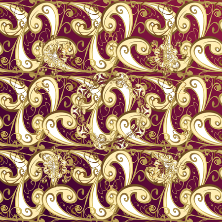 tillable: Seamless pattern on pink background with golden elements. Seamless classic vector golden pattern. Classic vintage background. Traditional orient ornament. Illustration