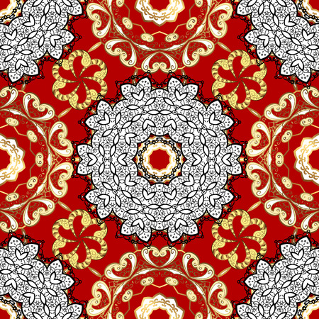 Traditional arabic decor on red background. Vector seamless pattern with floral ornament. Ornamental lace tracery. Vintage design element in Eastern style. Golden ornate illustration for sketch.