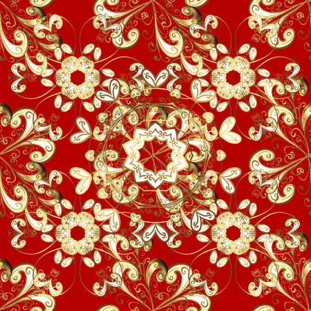 Luxury furniture. Pattern on red background with golden elements. Patina. Furniture in classic style. Carving. Seamless element woodcarving. Red tree with gold trim. Small depth of field.