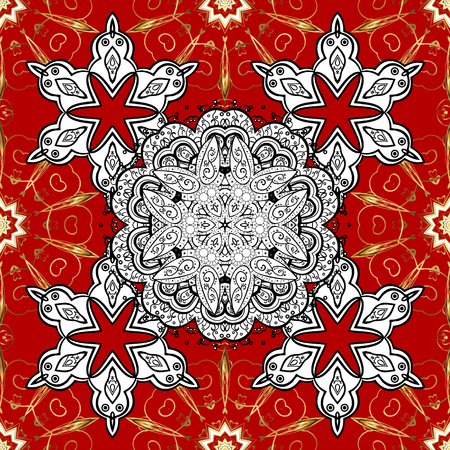 Vintage design element in Eastern style. Ornamental lace tracery. Vector seamless pattern with floral ornament. Traditional arabic decor on red background. Golden ornate illustration for sketch. Illustration