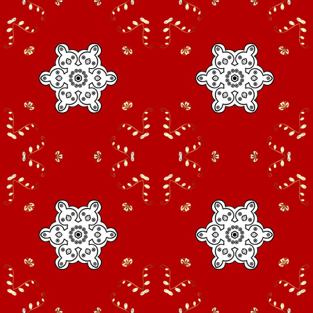 Seamless damask classic white and golden pattern. Vector abstract background with repeating elements. Golden pattern on red background with golden elements.