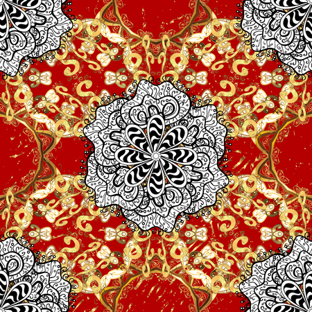 Traditional classic golden vector pattern on red background with golden elements. Seamless oriental ornament in the style of baroque.