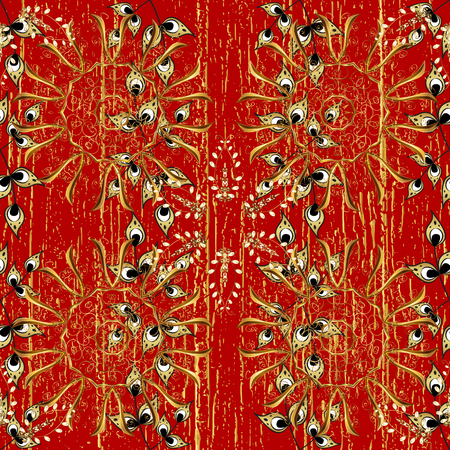 Red and golden pattern. Elegant vector classic pattern. Abstract background with repeating elements.
