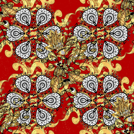 Decorative symmetry arabesque. Good for greeting card for birthday, invitation or banner. Gold on red background. Seamless pattern medieval floral royal pattern. Vector illustration. Illustration