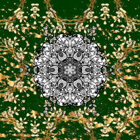 Pattern on green background with golden elements. Golden pattern. Vector oriental ornament.