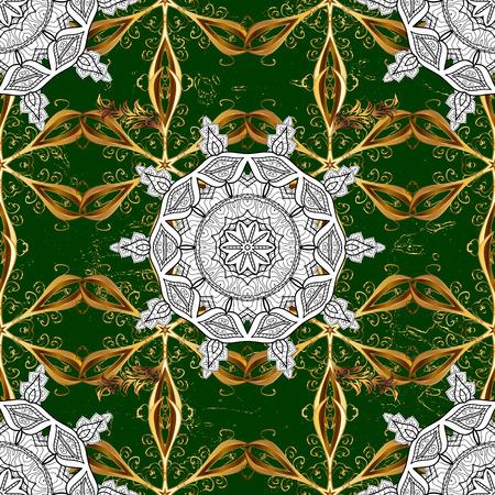 Ornate vector decoration. Damask gold green floral flower pattern background on vector. Illustration