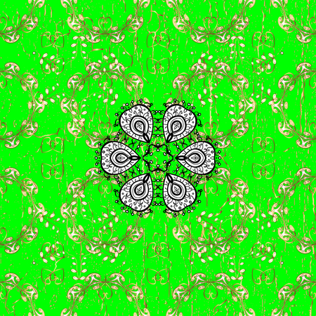 Damask pattern repeating background. Gold green floral ornament in baroque style. Antique golden repeatable sketch. Golden element on green background.