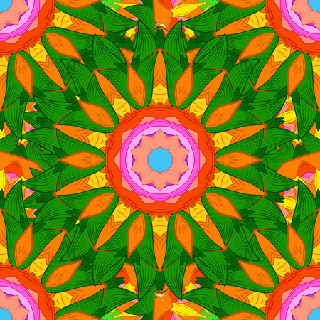 Colored elements. Abstract vector decorative ethnic mandala sketchy seamless pattern. Background. Ilustrace