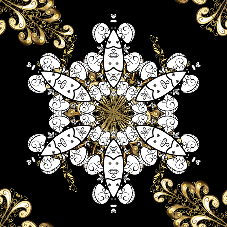 tillable: Traditional classic vector golden seamless pattern. Black background with golden elements. Seamless oriental ornament in the style of baroque.