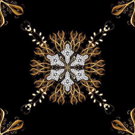 Floral pattern. Sketch baroque, damask. Golden elements on black background. Stylish graphic pattern. Seamless vector background. Illustration