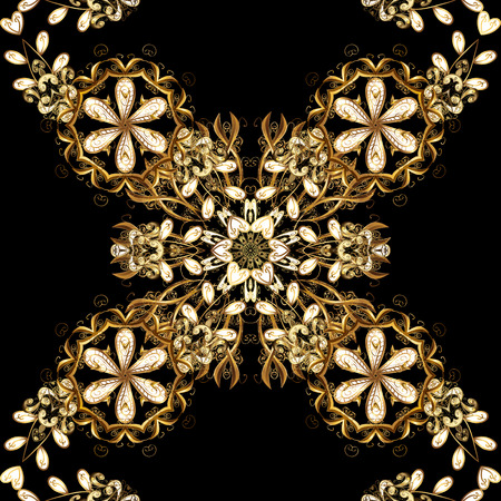 Seamless classic vector golden pattern. Classic vintage background. Seamless pattern on black background with golden elements. Traditional orient ornament.