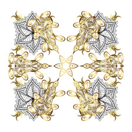 Isolati elementi d'oro acquerello su sfondo bianco. Simbolo dell'inverno. Bella decorazione. Illustrazione vettoriale con fiocchi di neve isolati bianchi.