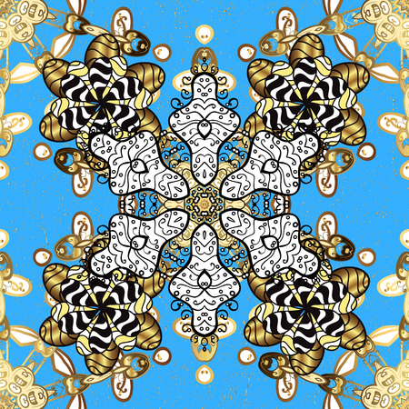 Gold floral ornament in baroque style. Golden element on blue background. Gold Sketch on texture background. Damask repeating background.