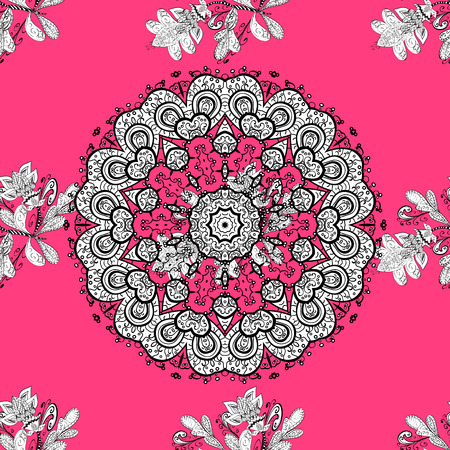 Vintage seamless pattern on a pink background with white elements. Vector illustration.