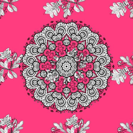 白い要素がピンクの背景のヴィンテージのシームレスなパターン。ベクトルの図。