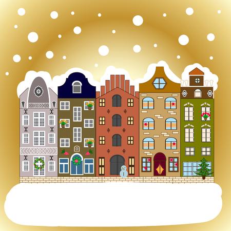 Winter village night Christmas background. Vector illustration.