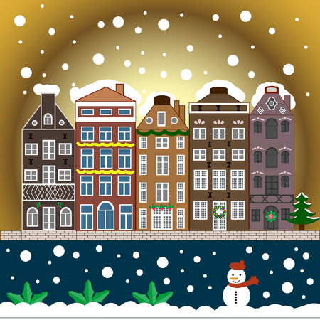 Winter day in cosy town street scene. Buildings and facades. Classic European houses landscape with Christmas holiday decorations. Snowfall on Christmas eve. Vector illustration.