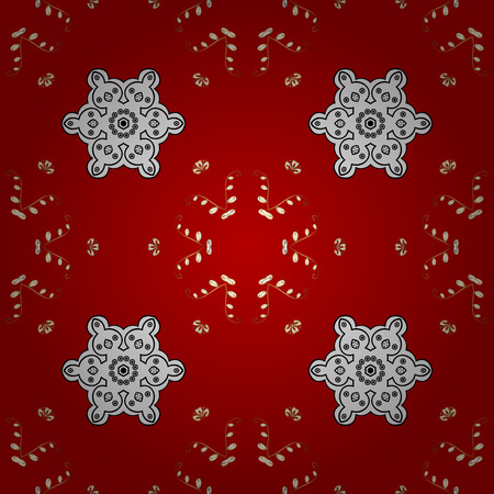 Vintage seamless pattern on a red background with golden elements.
