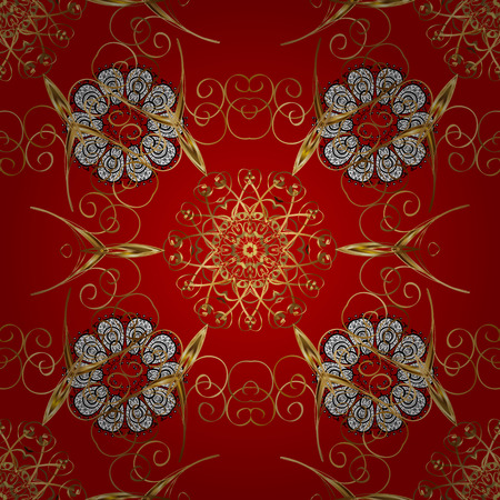 Seamless classic golden pattern. Traditional orient ornament. Classic vintage background. Golden pattern on red background with golden elements.