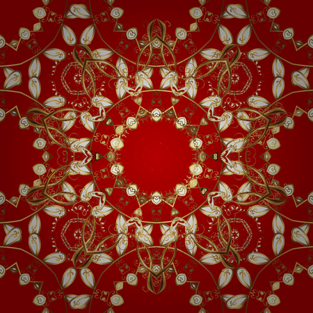 Seamless textured curls. Oriental style arabesques. Golden pattern. Golden pattern on red background with golden elements.