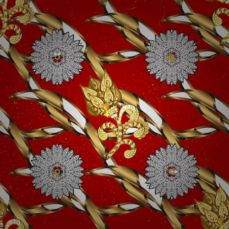 tillable: Golden pattern on red background with golden elements. Golden textured curls. White pattern. Oriental style arabesques.