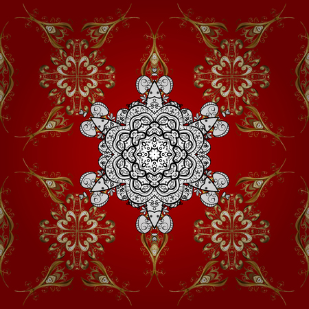 Golden textile print. Islamic design. Seamless pattern oriental ornament. Floral tiles. Golden pattern on red background with golden elements.