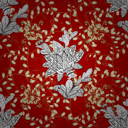 Classic red and golden pattern. Traditional orient ornament. Classic vintage background. Stock Photo
