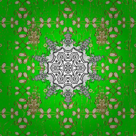 Damask gold green floral flower pattern background on. Ornate decoration. Stock Photo