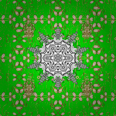 victorian christmas: Damask gold green floral flower pattern background on. Ornate decoration. Stock Photo