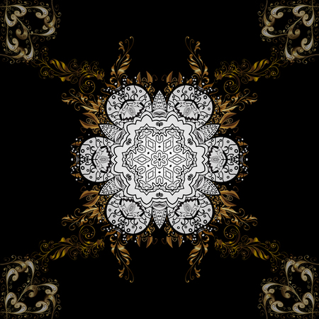 Elegant classic pattern. Seamless abstract background with repeating elements. Black and golden pattern.