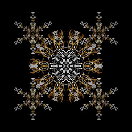 Golden pattern. Oriental ornament. Golden pattern with white doodles on black background with golden elements.