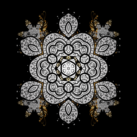Golden pattern on black background with with white doodles. Oriental style arabesques. Golden textured curls. Golden pattern.