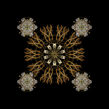 Classic golden pattern. Traditional orient ornament, classic vintage background. On black background with golden elements. Stock Photo