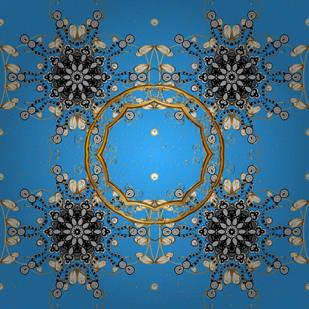 Blue background with gold elements. Oriental style arabesques. Golden textured curls. Golden pattern.