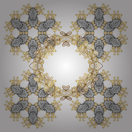 glorious: Golden elements. Abstract with Floral Elements. Snowflakes design on white background in white colors. Winter pattern.