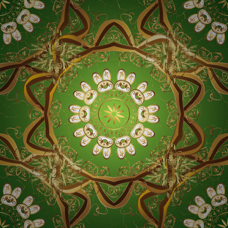 Traditional classic golden pattern. Oriental ornament. Oriental ornament in the style of baroque. Golden pattern on green background with golden elements. Stock Photo