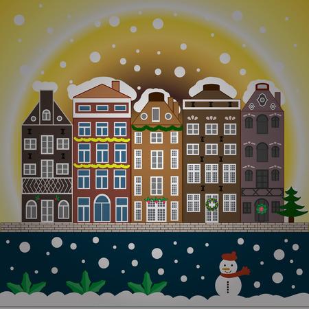 Snowy street. Urban winter landscape. Christmas card Happy Holidays banner. Flat design. Stock Photo