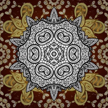 trendy tissue: For your design, sketch. Geometric background. Golden color illustration. Golden on red background with golden floral elements.