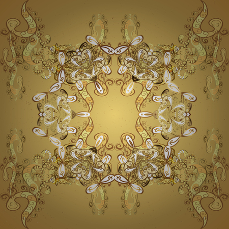 Vintage baroque floral pattern in gold over yellow. Luxury, royal and Victorian concept. Golden element on yellow background. Ornate vector decoration.