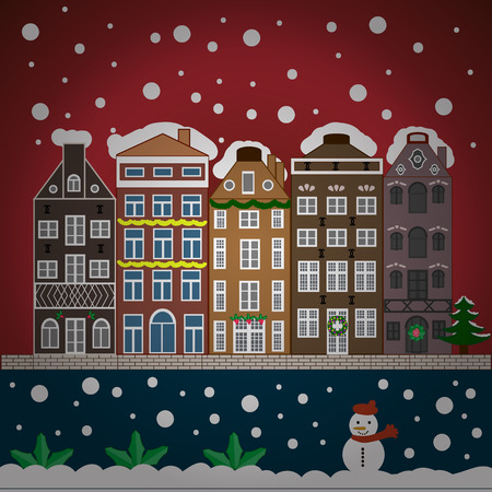 Night vector Winter, Christmas urban landscape. Illustration