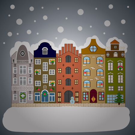 Village winter landscape with snow cove houses and christmas tree with Christmas presents.Vector illustration.