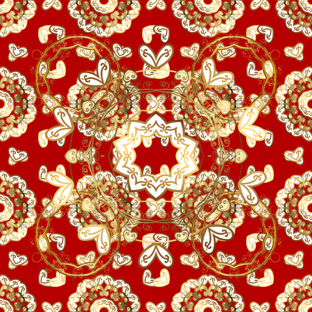 Seamless classic golden pattern. Classic vintage background. Seamless pattern on red background with golden elements. Traditional orient ornament.