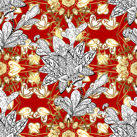 Elegant classic pattern. Seamless abstract background with repeating elements. Red and golden pattern.