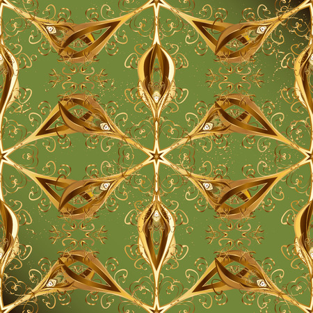 Golden pattern on green background with golden elements. Golden pattern. Oriental ornament.