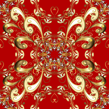 intertwined: Damask seamless pattern for design. Seamless pattern on red background with golden elements.
