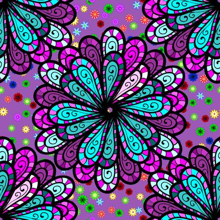 Five petal flower. Mandala doodle style. Raster illustration. Seamless pattern. Stock Photo